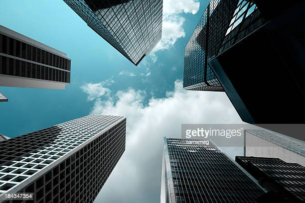 View from the ground to the sky of skyscrapers