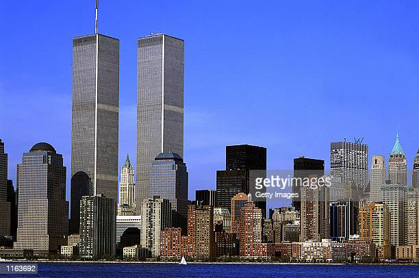 A view from the Hudson River of lower Manhattan's financial district including the World Trade Center Twin Towers in an undated photo in New York City