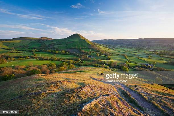 View from The Lawley towards Caer Caradoc Hill and The Long Mynd. Shropshire. England. UK.