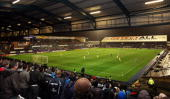A view from the Leeds United supporters end during the FA Cup First Round Proper match between Oldham Athletic and Leeds United at Boundary Park on...