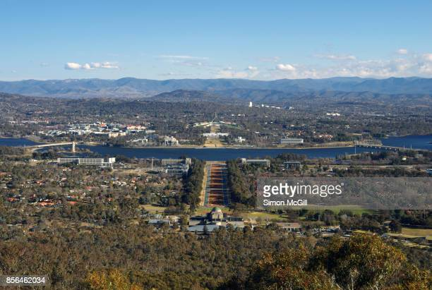 View from the lookout on Mount Ainslie down ANZAC Parade to Lake Burley Griffin and The Parliamentary Triangle, Canberra, Australian Capital Territory, Australia