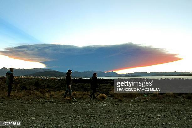 View from the Nahuel Huapi lake province of Rio Negro 1570 km southwest of Buenos Aires of a menacing cloud from the Calbuco volcano in neighbouring...