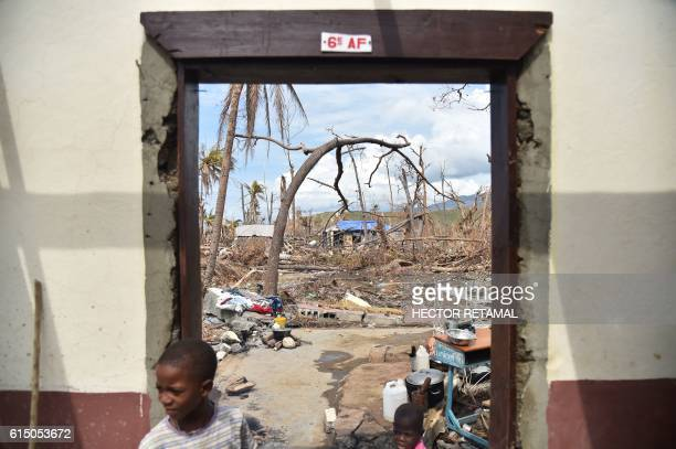 TOPSHOT View from the National school of Labeyi that was the destroyed by Hurricane Matthew in the commune of Chadonyer in Les Cayes in the southwest...