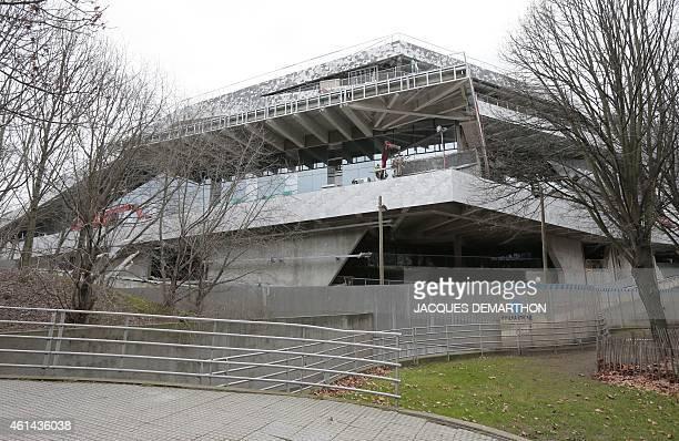 A view from the north of the new 'Philharmonie de Paris' under construction in the Parc de la Villette close to Porte de Pantin in northeast Paris...