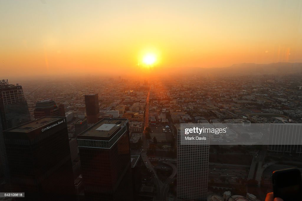 A view from the observation deck during the OUE Skyspace LA grand opening block party at OUE Skyspace LA on June 25, 2016 in Los Angeles, California.