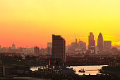View from the Observatory Hill in Greenwich on London skyline at sunset