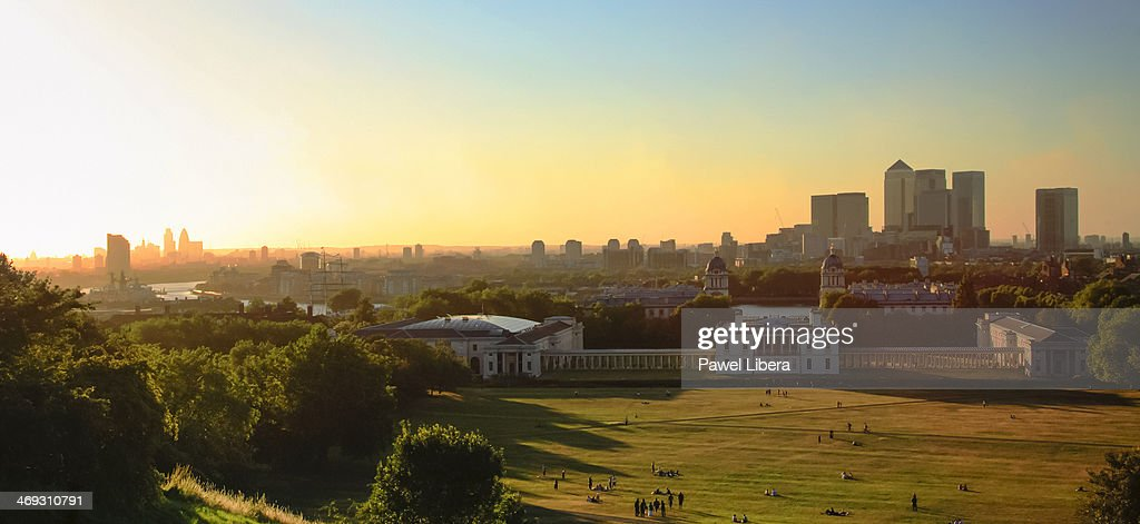 View from the Observatory Hill in Greenwich on Royal Naval College and Canary Wharf