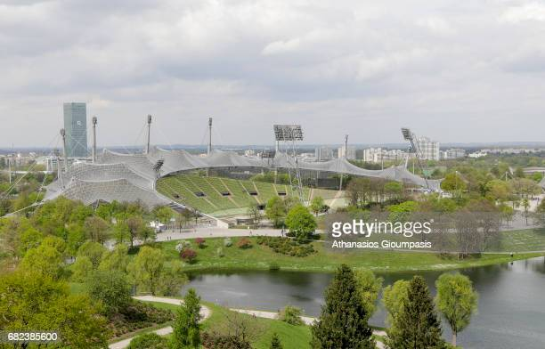 View from the Olympic Mountain to Olympic Park and Olympic Stadium on April 15 2017 in Munich Germany The Olympic Mountain constract from rubble...