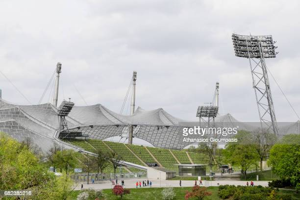 View from the Olympic Mountain to Olympic Stadium on April 15 2017 in Munich Germany The Olympic Mountain constract from rubble after the World Wars...