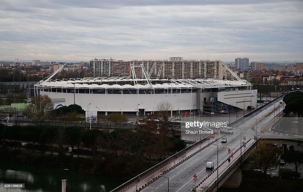 A view from the outside of Stadium Municipal on February 9, 2016 in Toulouse, France.