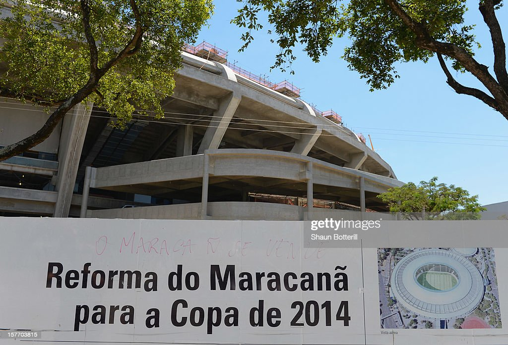 A view from the outside of the Maracana Stadium, venue for the FIFA 2014 World Cup Fina on December 5, 2012 in Rio de Janeiro, Brazil.