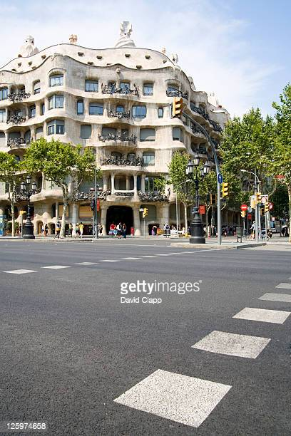 View from the pedestrian crossing opposite La Pedrera, built by the architect Gaudi, Barcelona, Spain, Europe