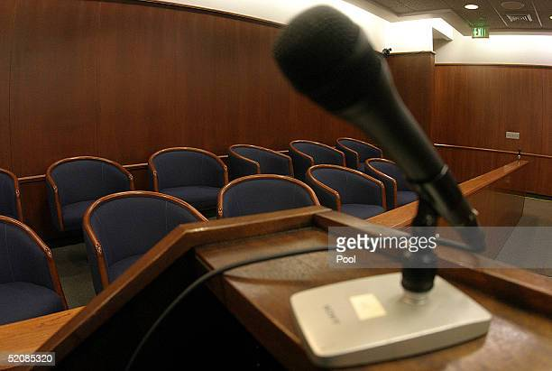 A view from the podium where lawyers will speak to prospective jury candidates in Courtroom one day before jury selection begins for the Michael...
