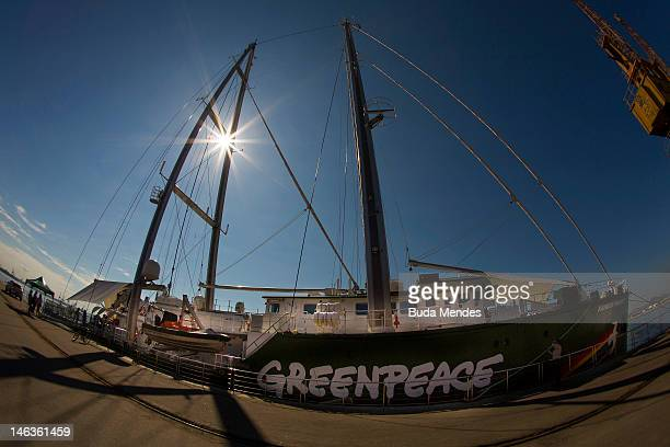 View from the Rainbow Warrior of Greenpeace which will be berthed at Pier Maua until the end of the United Nations Conference on Sustainable...