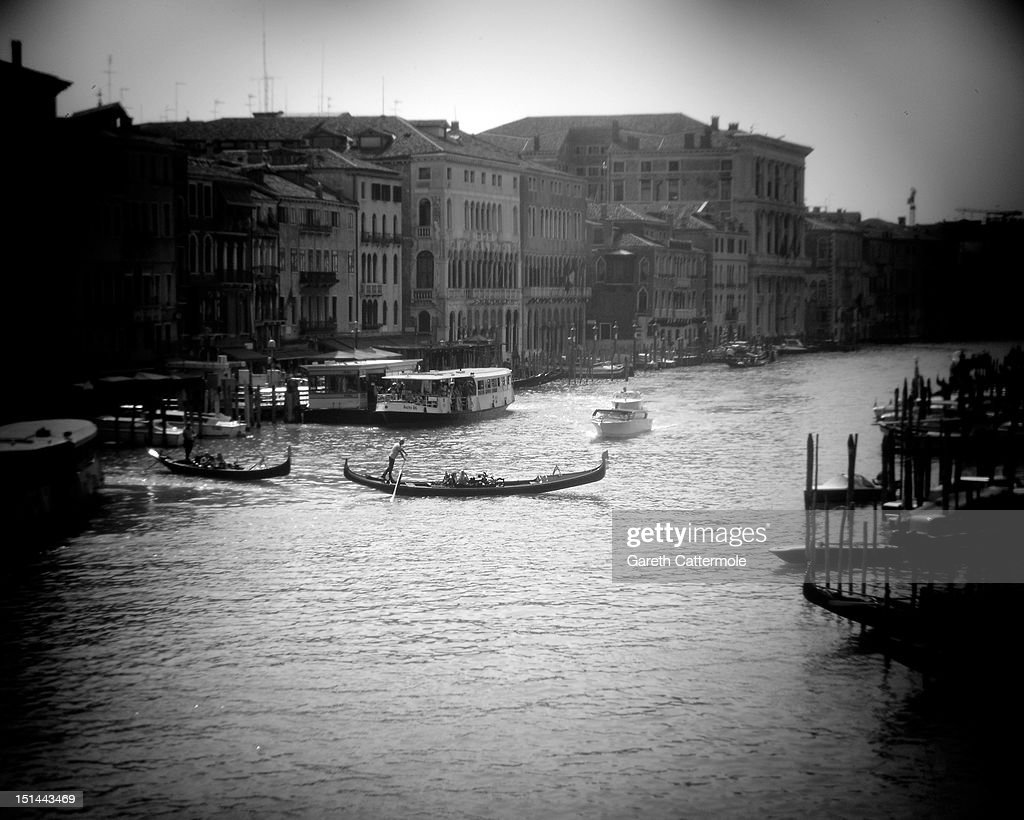 A view from the Rialto Bridge of the Grand Canal in Venice during the 69th Venice Film Festival at the Palazzo del Cinema on September 7, 2012 in Venice, Italy.