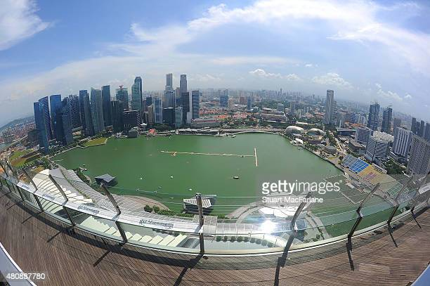 View from the roof of the Marina Bay Sands hotel on July 16 2015 in Singapore