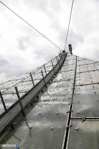 View from the roof of The Munich Olympic stadium or Olympiastadion on April 15 2017 in Munich Germany Olympiastadion or Olympic Stadium was...