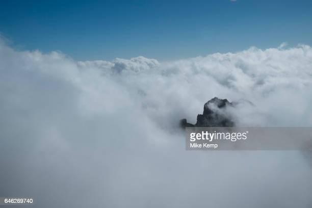 View from the Roque de los Muchachos above the clouds looking south to the Caldera de Taburiente National Park in La Palma Canary Islands Spain La...