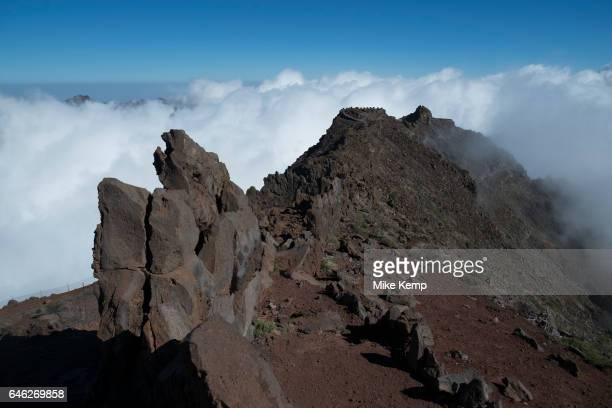 View from the Roque de los Muchachos looking south to the Caldera de Taburiente National Park in La Palma Canary Islands Spain La Palma also San...