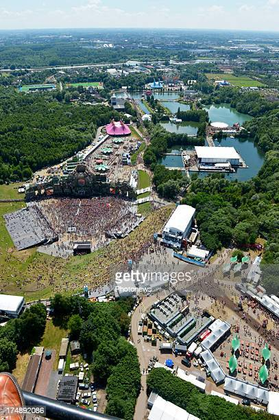 A view from the sky on Tomorrowland the worldwide know dance festival at De Schorre on July 26 2013 in Boom Belgium Tomorrowland receives 180000...