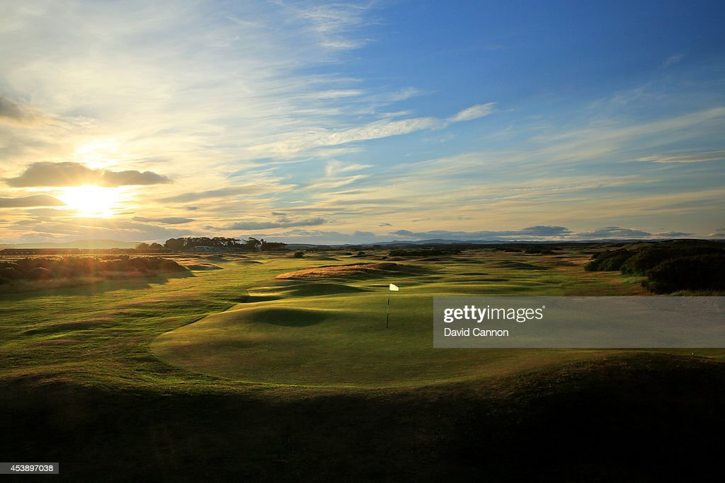 A view from the St Andrews Links Clubhouse balcony of behind the green on the 408 yards par 4 18th hole on the New Course at St Andrews on July 29...