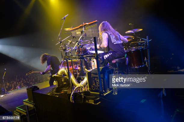 View from the stage as Chris Adler of Megadeth performs on stage at Wembley Arena London 14th November 2015