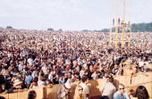 View from the stage over the heads of a portion of the massive crowd at the Woodstock Music and Arts Fair in Bethel New York August 15 17 1969