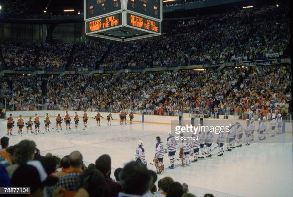 View from the stands as members of the Philadelphia Flyers and Edmonton Oilers line up to face each other prior to a game during the Stanley Cup...