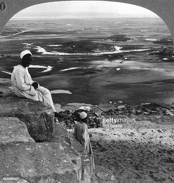 View from the summit of the Great Pyramid Giza Egypt 1905 Looking east across the Nile valley Stereoscopic card Detail From a series called Egypt...