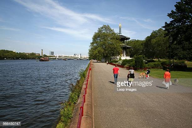 View from the Terrace Walk in Battersea Park down the River Thames towards Chelsea Bridge