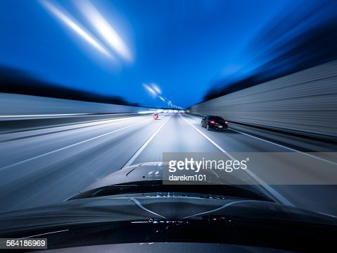 View from the top of a car driving down a motorway at speed