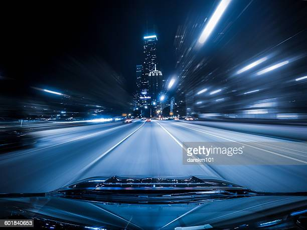 View from the top of a car driving down highway, Chicago, Illinois, America, USA