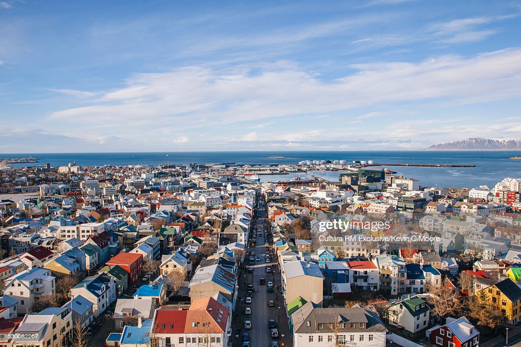 View from the top of Hallgrimskirkja towards harbour, Reykjavik, Iceland