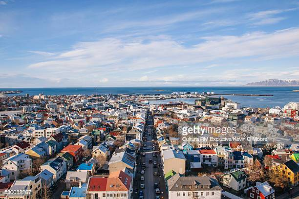 View from the top of Hallgrimskirkja towards harbour, Reykjavik, Iceland