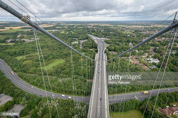 View from the top of suspension bridge. The Humber Bridge, UK was built in 1981 and at the time was the worlds largest single-span suspension bridge