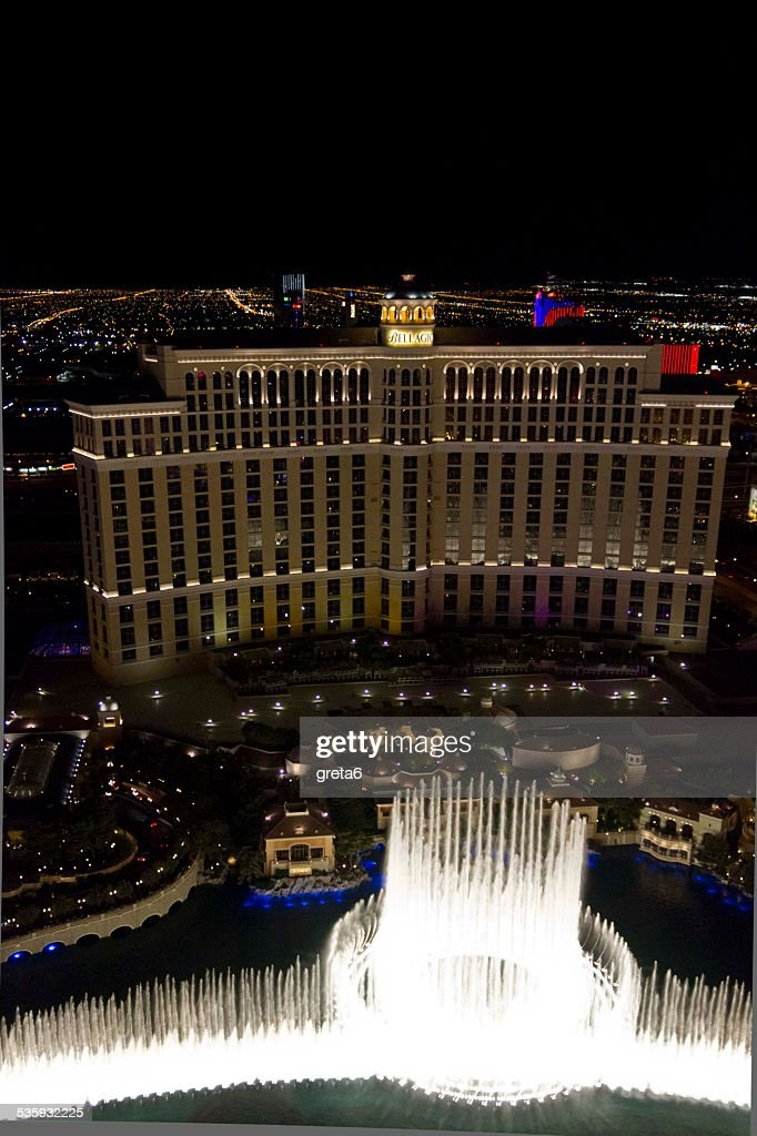 View from the top of the Bellagio hotel at night : Stock Photo