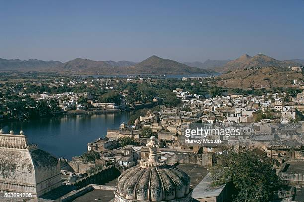 A view from the top of the City Palace in Udaipur Rajasthan India 1972