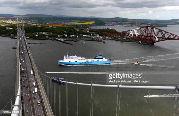 A view from the top of the Forth Road Bridge of Norfolkline's boat SCOTTISH VIKING between the Forth Road and Rail Bridges on the River Forth on its...