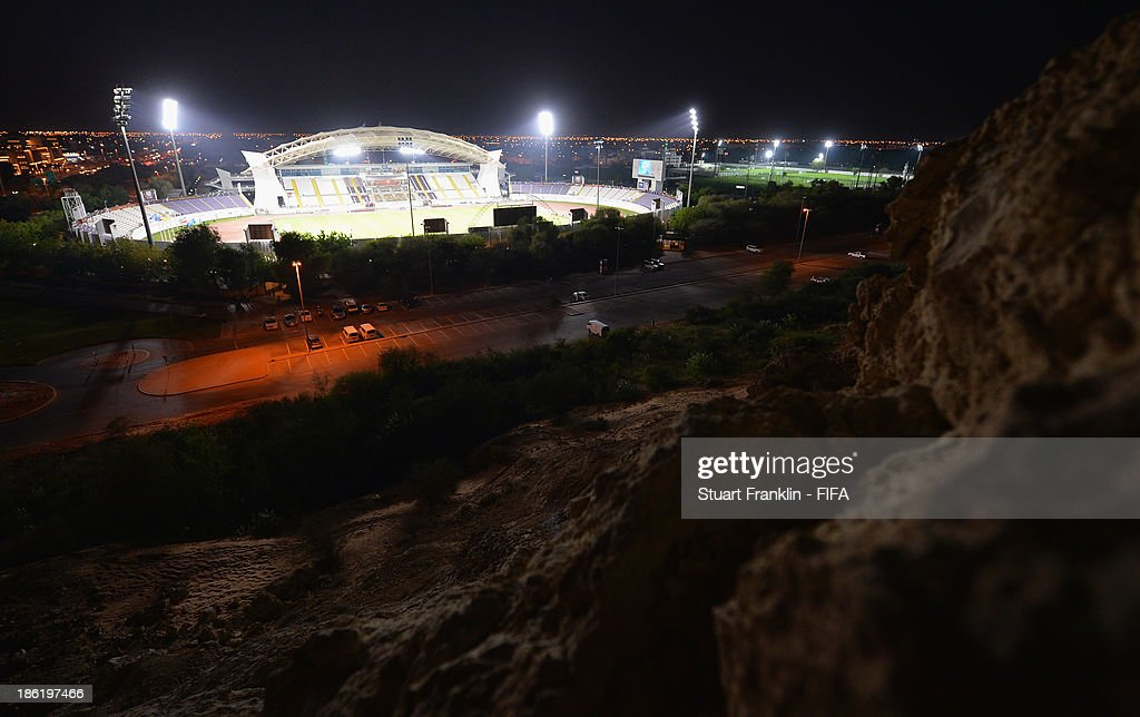 A view from the top of the mountain opposite the stadium prior to the start of the round of 16 match between Nigeria and Iran at Khalifa Bin Zayed Stadium on October 29, 2013 in Al Ain, United Arab Emirates.