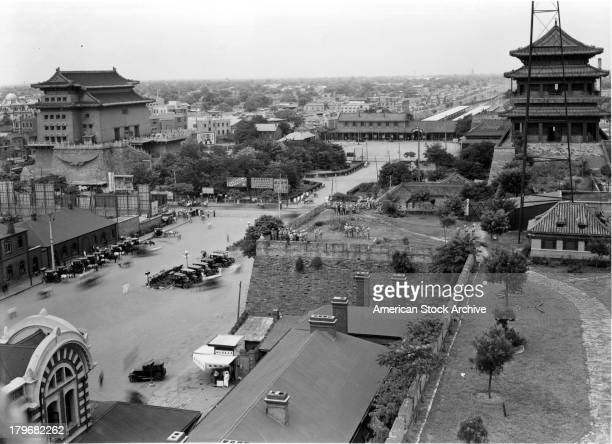 A view from the top of the Tatar wall and to the right lies the United States Marine Compound and the American Legation in Peking China