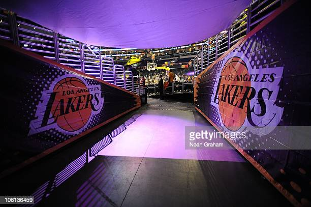 A view from the tunnel where players enter the court before a game between the Houston Rockets and the Los Angeles Lakers at Staples Center on...