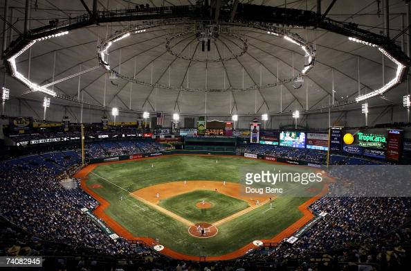 A view from the upper deck as the Oakland Athletics take on the Tampa Bay Devil Rays at Tropicana Field on May 5 2007 in St Petersburg Florida