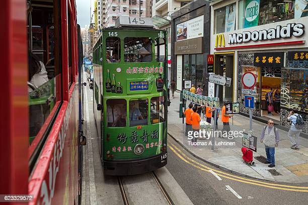 View from the upper deck of a tram in Hong Kong