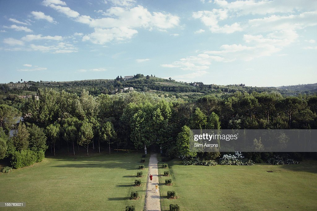 View from the Villa il Palagio, Florence, overlooking the trees and hills of Tuscany, Italy, in July 1991.