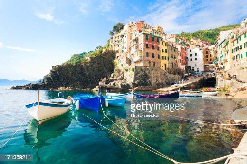 A view from the water of Riomaggiore, Cinque Terre