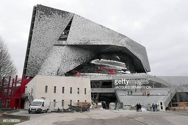A view from the west of the new 'Philharmonie de Paris' under construction in the Parc de la Villette close to Porte de Pantin in northeast Paris...