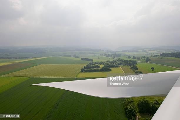 View from top of wind turbine, Schwabische Alb, Baden Wuerttemberg, Germany