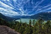 Squamish, British Columbia, Canada - May 31, 2015: View from top of Sea to Sky trail