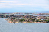 View from Vetteberget over Swedish coastline with islets and skerries at Fj��llbacka