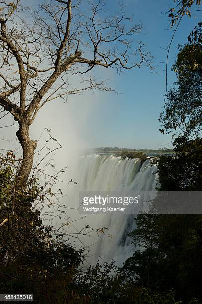 View from Zambia of Victoria Falls and the Zambezi River